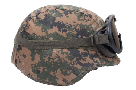 kevlar: us marines kevlar helmet with camouflage cover and protective goggles Stock Photo