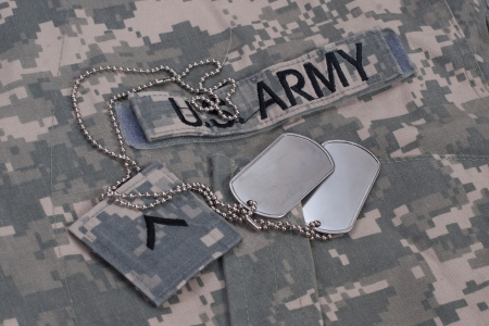 acu: us army camouflaged uniform with blank dog tags