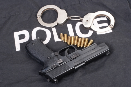 glock: police concept with handcuffs
