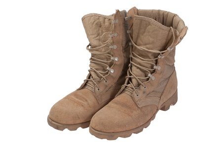 army boots: old used desert boots iraq war period isolated