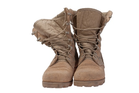 military boots: old used desert boots iraq war period isolated