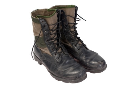 military boots: old used jungle boots vietnam war period isolated