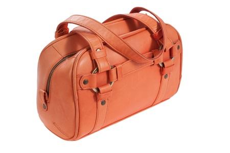 woman handle success: orange learher bag Stock Photo