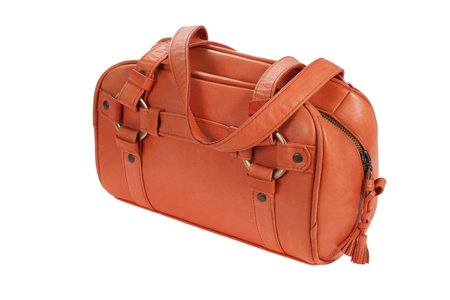 woman handle success: orange learher bag Stock Photo
