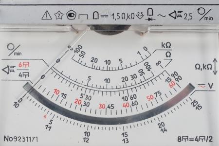 Vintage analog multimetr scale. Close-up.