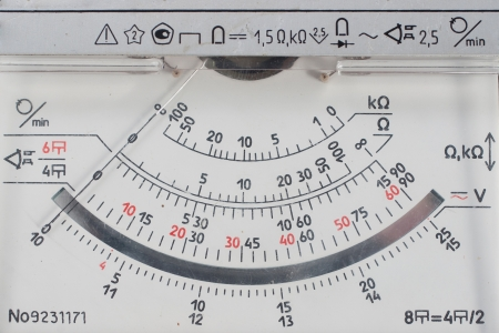 Vintage analog multimetr scale. Close-up.