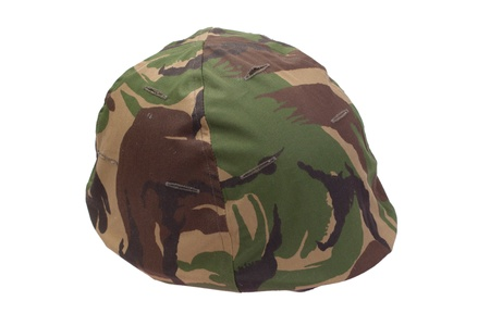 disruptive: army helmet with DPM pattern camouflaged cover isolated on white