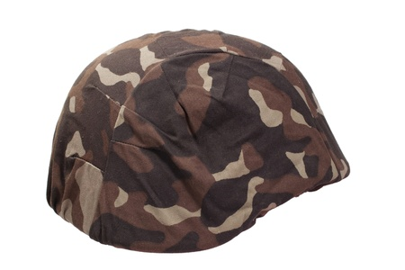 kevlar: ukraine army kevlar helmet with camouflaged cover isolated on white