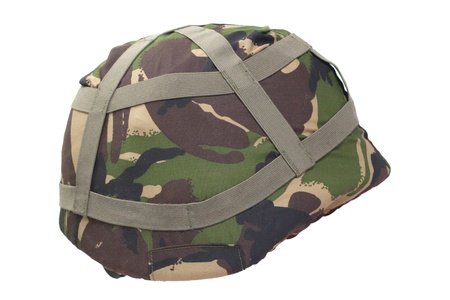kevlar: kevlar helmet with DPM pattern camouflaged cover isolated on white