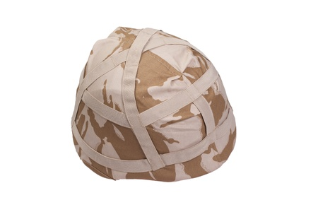 kevlar: army kevlar helmet with camouflaged cover isolated on white Stock Photo