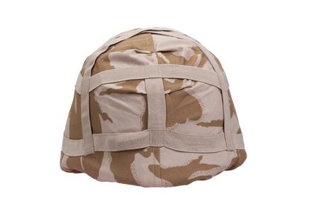 kevlar: kevlar helmet with desert pattern camouflaged cover isolated on white