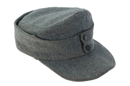German Army field cap (kepi) World War II period isolated on a white background