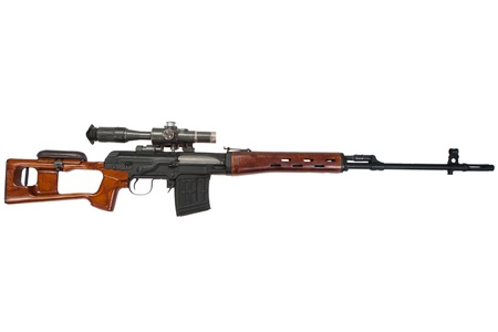 counter terrorism: soviet army sniper rifle SVD by Dragunov with optic sight