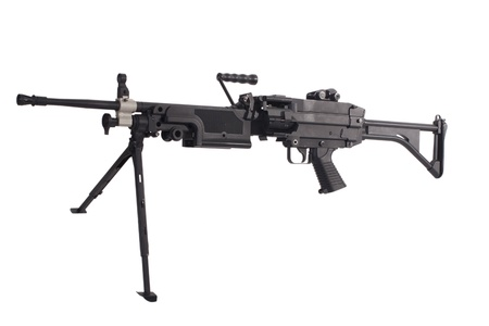 counter terrorism: m249 us army machine gun isolated on white