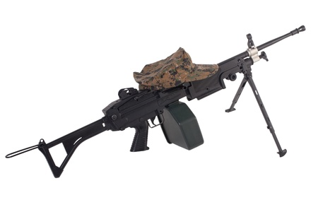 machine gun and us marine kepi isolated on white