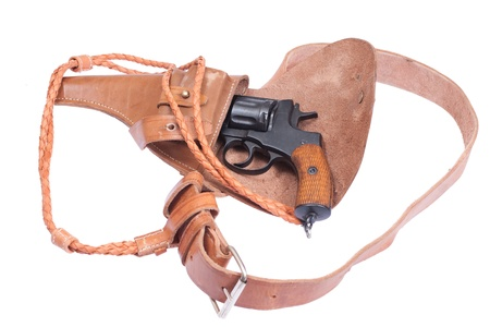 Russian revolver Nagant in a holster isolated on a white background photo