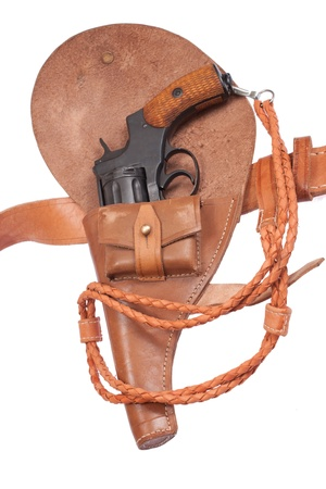 revolver in a holster isolated on a white background photo