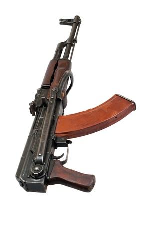 AKMS (Avtomat Kalashnikova) airborn version of Kalashnikov assault rifle on white photo