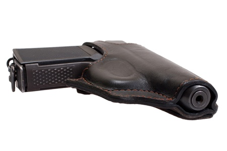 Russian handgun PMM-Makarov in a holster isolated on a white background