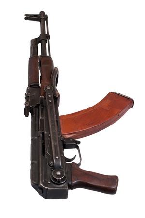 airborn: AKMS (Avtomat Kalashnikova) airborn version of Kalashnikov assault rifle on white