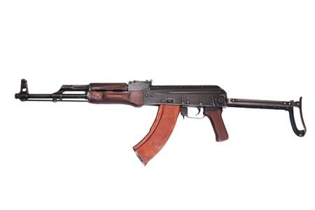 akm: AKMS (Avtomat Kalashnikova) airborn version of Kalashnikov assault rifle on white