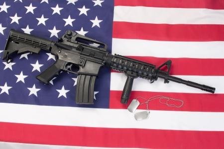 M4 RIS assault carbine on us flag photo