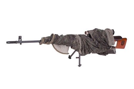counter terrorism: camouflaged SVD sniper rifle isolated on a white background