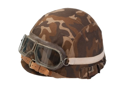 infantry: soviet army mechanized infantry camouflaged helmet with goggles isolated on white