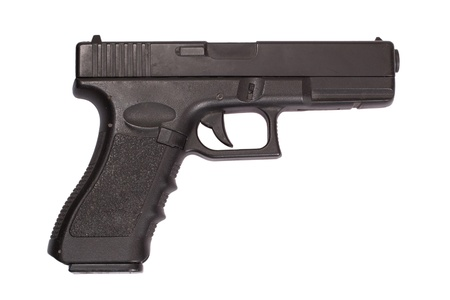 Glock automatic 9mm handgun pistol isolated on a white background Archivio Fotografico