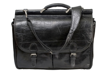 Black leather bag corporate  isolated on a white background photo