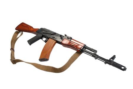 akm: kalashnikov assault rifle ak-74 isolated on a white background
