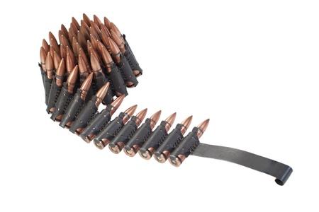 machine-gun: keten van patronen op witte achtergrond Stockfoto