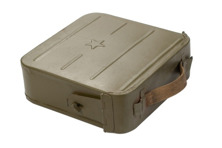 munition: green ammo case on white background