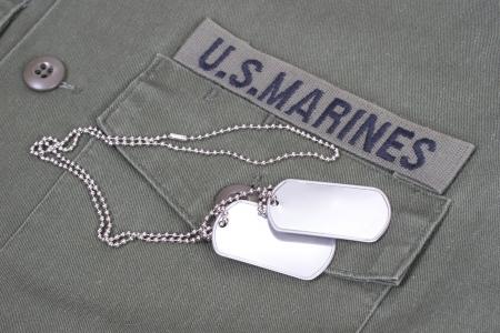 us marines uniform with blank dog tags photo