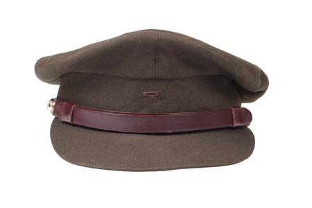 memorabilia: British army officers field cap isolated on white background