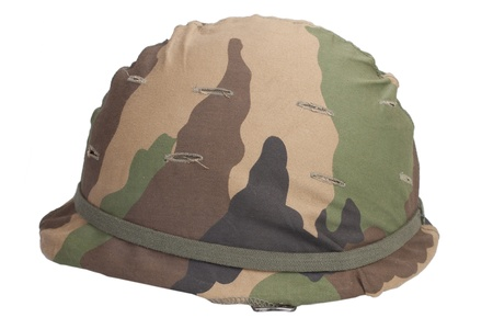 us army: US Army helmet with woodland pattern camouflage cover
