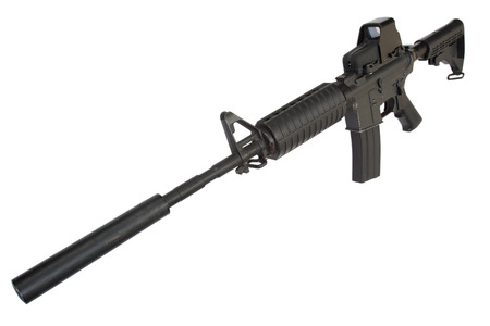 M4 carbine with silencer isolated on a white background Stock Photo - 25844966