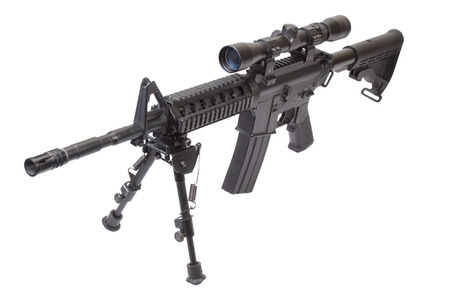 M16: assault rifle with bipod isolated on a white background