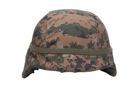 kevlar: us marines kevlar helmet with camouflage cover  Stock Photo