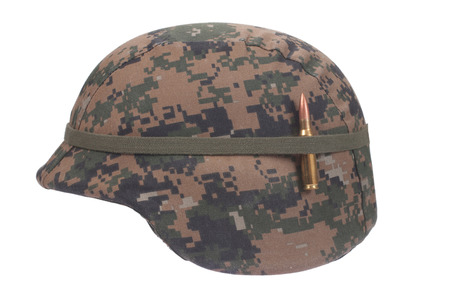kevlar: us marines kevlar helmet with camouflage cover with ammo amulet