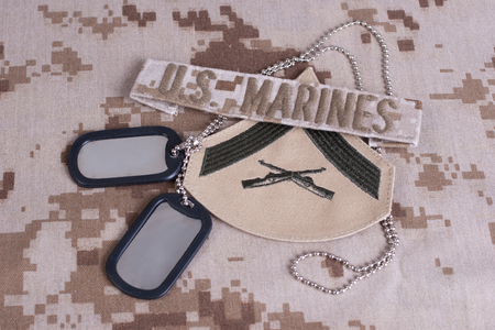 camouflaged: us marines camouflaged uniform with blank dog tags