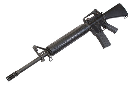 US Army service rifle M16 rifle isolated on a white background photo