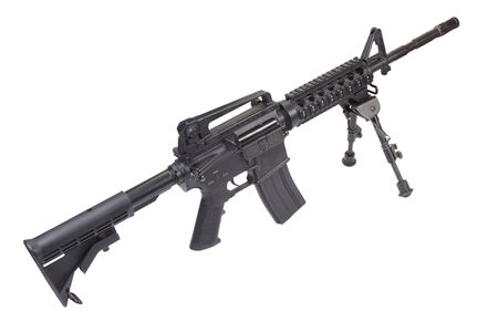 armament: assault rifle with bipod isolated on a white background