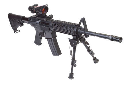 assault rifle with bipod isolated on a white background photo