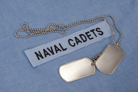 cadet blue: us naval cadets uniform with blank dog tags