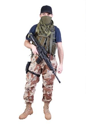 mercenary: mercenary with m16 rifle Stock Photo
