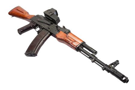 Kalashnikov AK assault rifle with optical sight on white photo