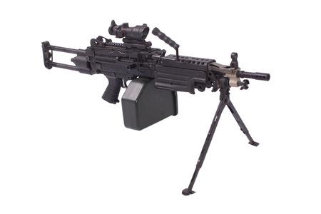 modern us army machine gun isolated on white Archivio Fotografico