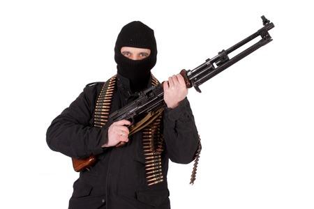 gunner: mercenary with rpd-44 machine gun Stock Photo