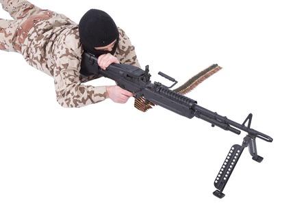 machine gun: mercenary with m60 machine gun Stock Photo